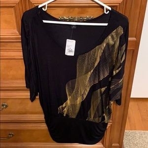 Brand new with tags, black and gold top.